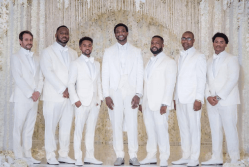 Gucci Mane and Keyshia Kaoir's Wedding #TheManeUnion Groom and Groomsmen in white LoveWeddingsNG